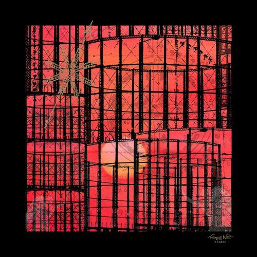 Frances Nutt London ~ Pocket Square ~ Gas Angels ~ Sunset