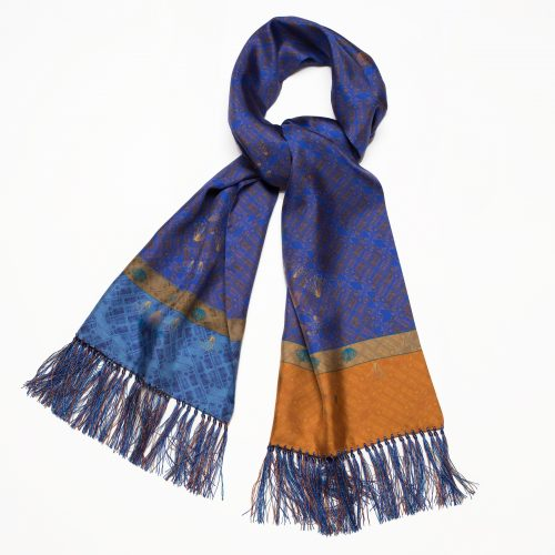 Chelsea Physic Garden Linnaeus ~ Blue Mens Silk Scarf ~ 120 & 180cms
